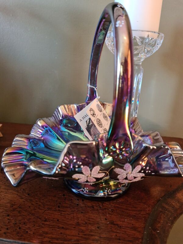 Signed Bill Fenton, Hand Painted By artist plum Iridescent Carnival Glass Basket