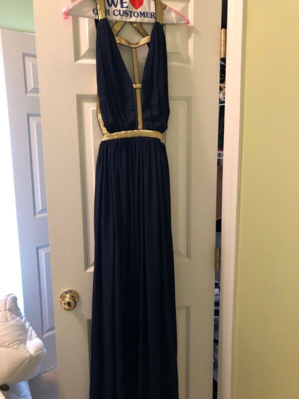 Prom Dress Navy And Gold Cq By Cq Size M