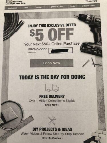3 X Home Depot 5 Off 50 OnIine - Voucher - Coupon - $4.00
