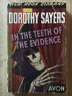Dorothy Sayers IN THE TEETH OF THE EVIDENCE Avon 1943 Great Cover Art L@@K WOW!