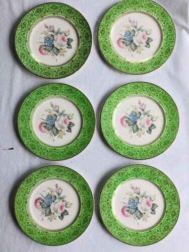 Vintage Imperial by Salem China Co. Green Floral Service Plates- Set of 6