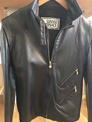 Authentic Gianni Versace Leather Jacket with Meduza, Size It40 UK6-8, RRP £1900