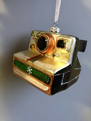 Retro Polaroid Camera Shaped Novelty Glass Bauble Christmas Tree Decoration