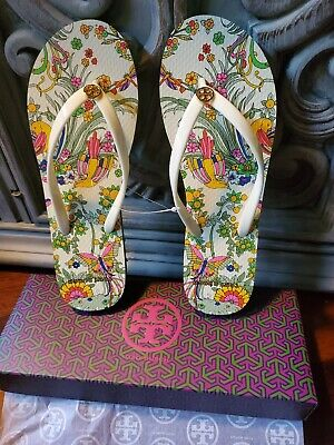Tory Burch New Ivory Promised Land Printed Thin FLIP FLOPS Size 8 (New in Box)