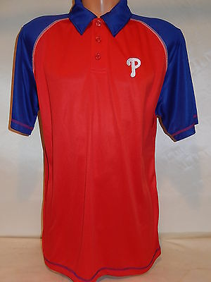 9601-89 PHILADELPHIA PHILLIES Performance Polo Golf Jersey Shirt Red/Blue -