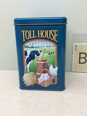 Old Vintage Nestle Toll House Cookies Metal Tin Can Blue