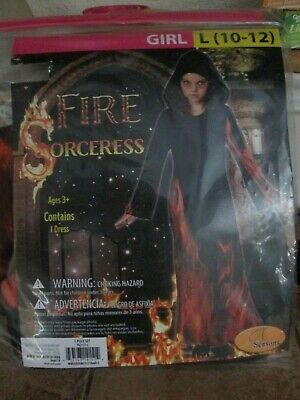 Fire Girl Costume Halloween (SEASONS HALLOWEEN COSTUME GIRL SZ. L(10-12) FIRE SORCERESS CONTAIN 1 DRESS)