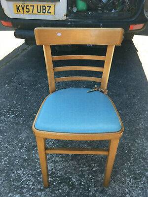 Vintage 1950s Mid Century Chair Beech and Pale Blue Vinyl 1958