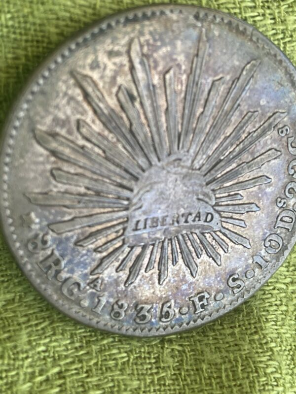 1835 Ga FS Mexico 8 Reales Guadalahara Mint Silver Coin  Very Scarce Date.