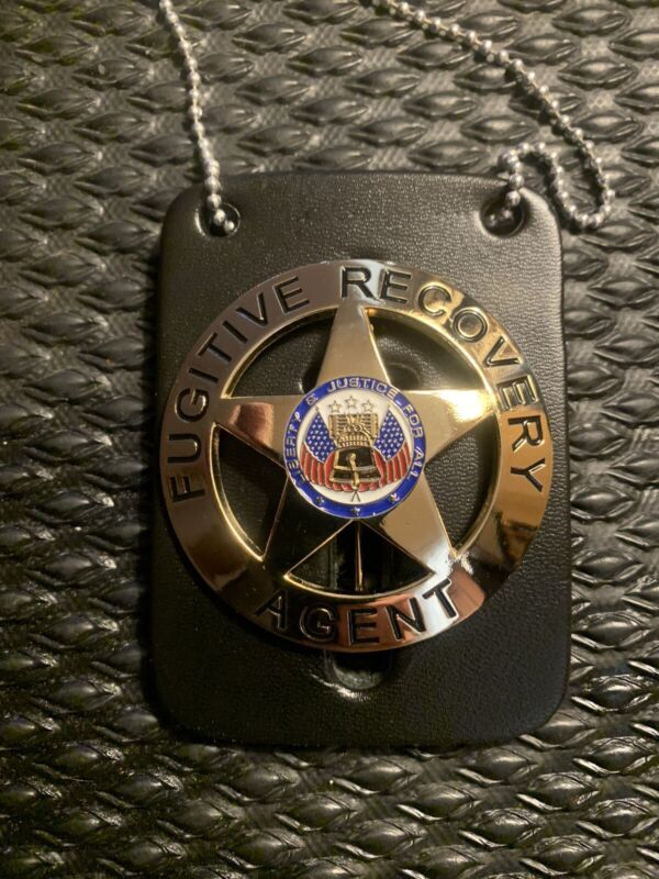 Fugitive Recovery Agent Gold Badgew/ Leather & Chain Dog The Bounty Hunter