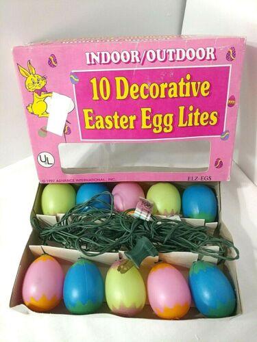 Vintage Easter Egg String Lights Indoor Outdoor 10 Lights Original Box Working