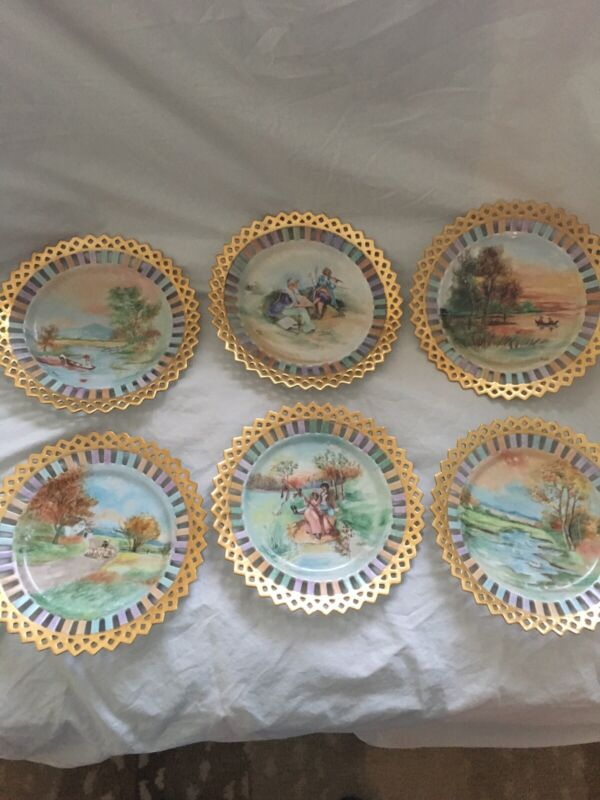 "Gilt Edged Hand Painted Dessert Plates-Marked ""ALM 1910""- Set of 6"
