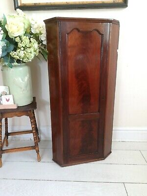 Antique Victorian Corner Wall Hanging Cupboard Mahogany Postage Available