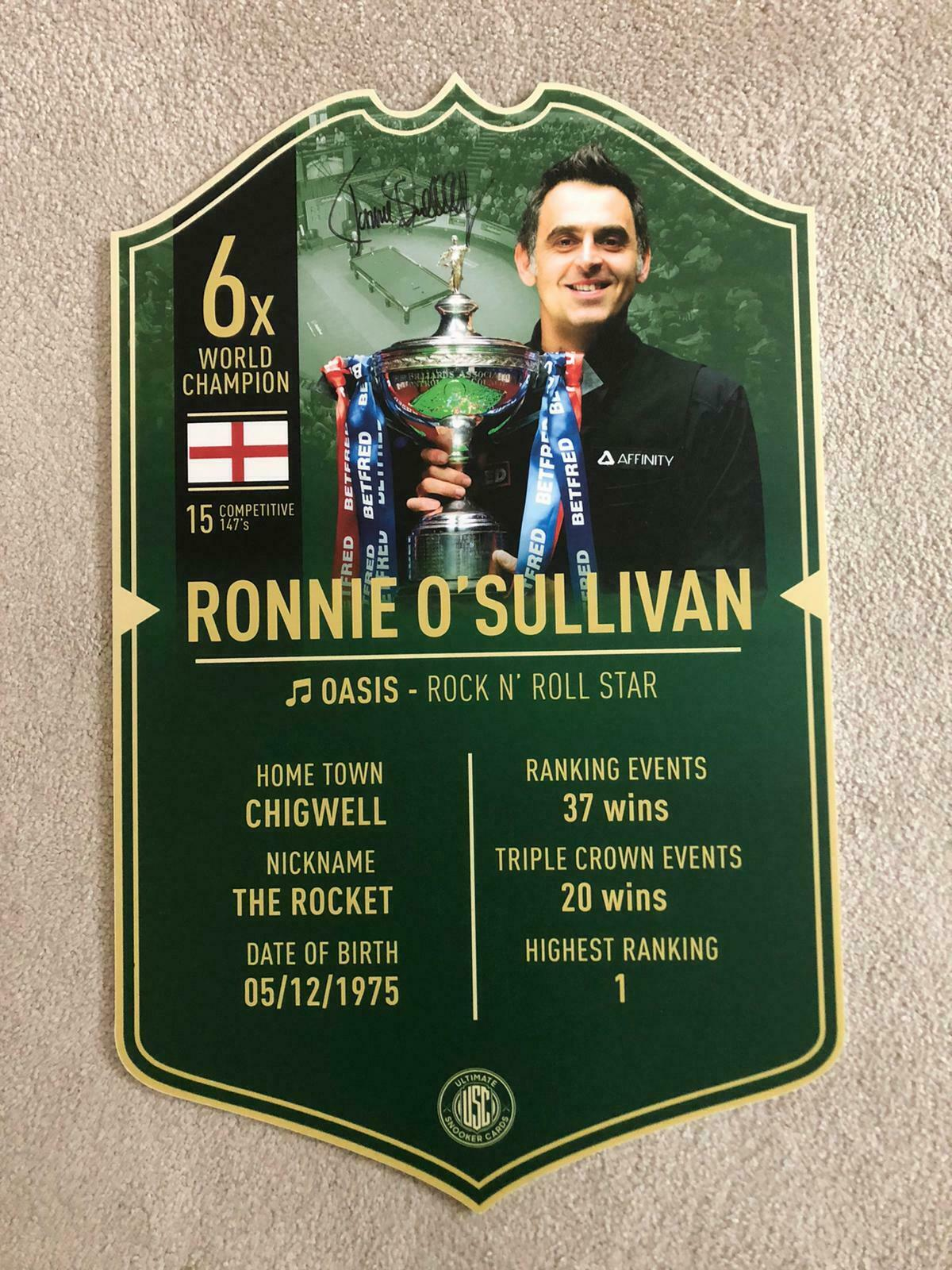 Ronnie O'Sullivan Signed Plaque