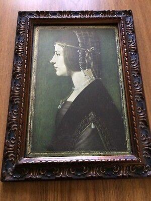 Antique Framed Print Of Beatrice D' Este By Leonardo Da Vinci