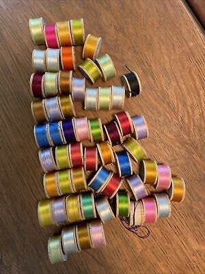 58 Belding Bros & Co Embroidery Silk Wood Spools Assorted Colors