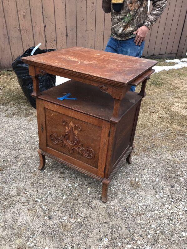 Antique Oak Regina Music Box Disc Cabinet Stand As Found Olympia