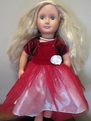 """Our Generation Doll Blonde Hair Green Eyes 18"""" Fancy Red & White Dress"""
