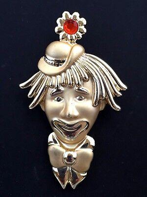 VINTAGE - SIGNED OAJC - GOLD-TONE RHINESTONE CLOWN BROOCH - PRETTY!! (Pretty Clown Costume)