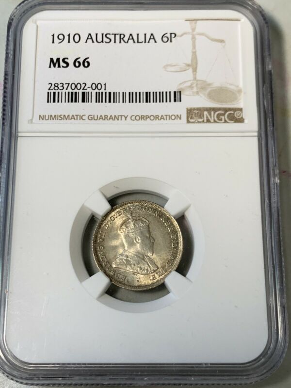 1910 Australia 6 Pence NGC MS66 Rare Grade Excellent Condition high value