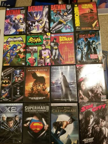 DC Comic Book Action dvd lot Batman Hellboy Superman Cartoon Animated Sin City