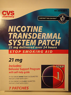 NICOTINE TRANSDERMAL SYSTEM PATCH STOP SMOKING PATCHES CVS 21mg STEP 1 MAR2017