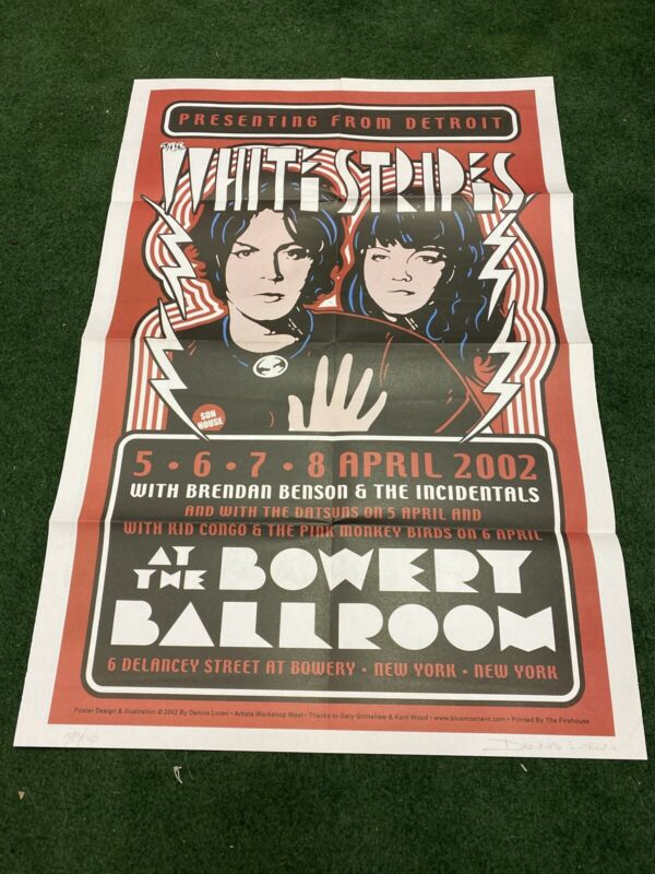 The White Stripes 2002 Autographed Numbered Dennis Loren poster New York Bowery