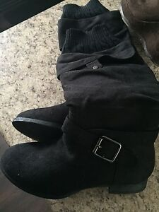 Black boots with sock detail