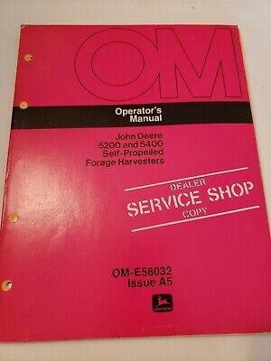 John Deere 5200 5400 Self Propelled Forage Harvester Owners Operators Manual