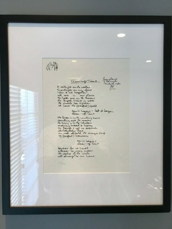 "John Lennon framed lyrics: The Solo Years: ""Clean Up Time"""