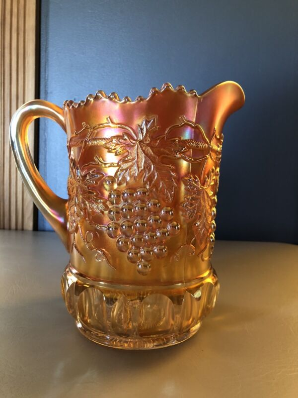 NORTHWOOD: GRAPE & CABLE:  MARIGOLD CARNIVAL GLASS PITCHER