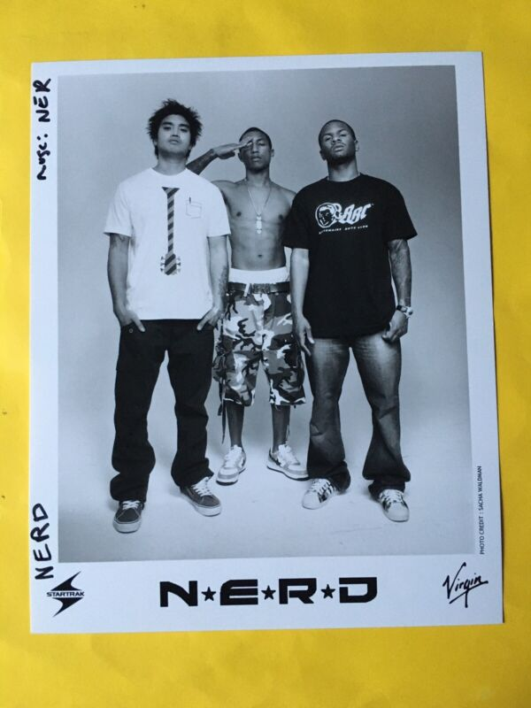 "N.E.R.D. Press Photo 8x10"". Pharrell Williams, Chad Hugo, Shay Haley."