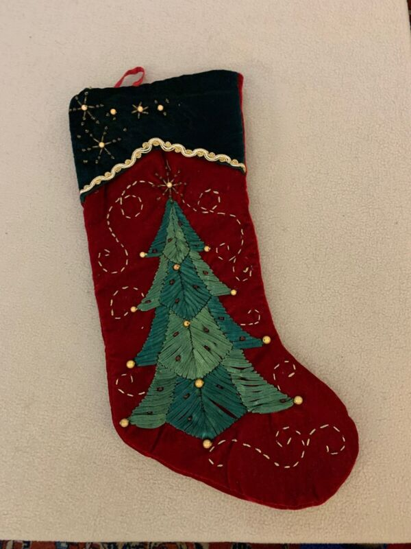 CHRISTMAS HOLIDAY Green Velvet Stocking w/ Ribbon Embroidered Tree & Sequins