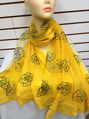 Layer Scarf - DOUBLE LAYER ROSE PATTERN LIGHT WEIGHT LACE CHIFFON SCARF COLOR YELLOW