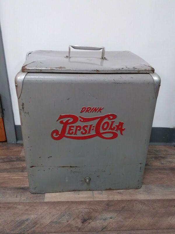 Rare Vintage Original (Military Gray) Metal Pepsi Cola Cooler w/Lid