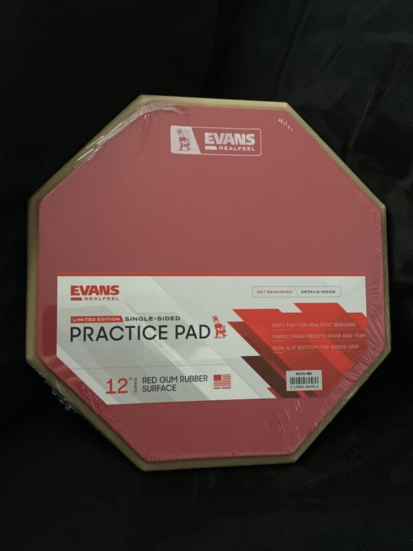 """Evans Real Feel Practice Pad 12"""" Limited Edition Red Pad"""