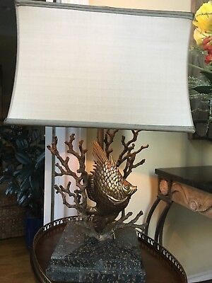 Theodore Alexander Antique Brass Tropical Fish and Coral Table Lamp ()