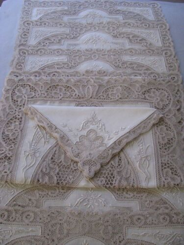 ANTIQUE LACE LINEN PLACEMATS NAPKINS RUNNER ITALIAN SET 8 HAND DONE MINT RARE