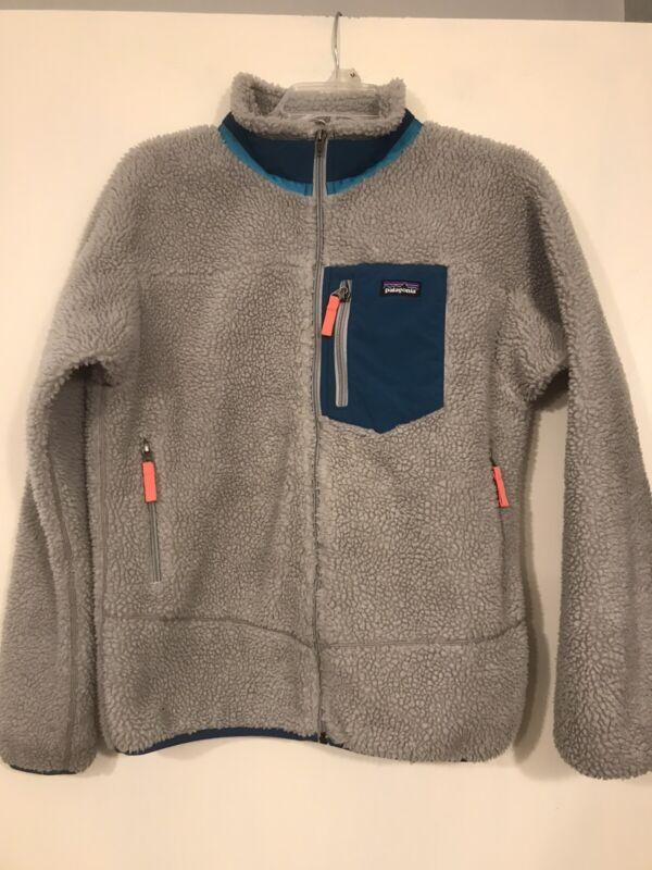 Patagonia Gray Retro-X Fleece Full Zip Jacket Youth Sz XXL ( 16-18) Sherpa Pile