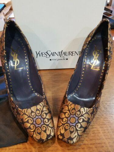 New Stunning Yves Saint Laurent Shoes 39 Pump Heel YSL Nwb bronzechocolate NIB