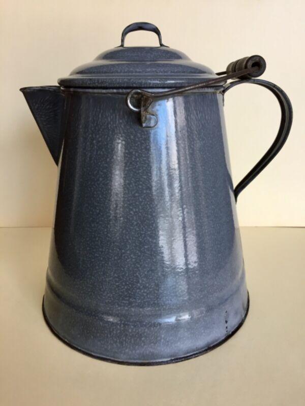 Antique Mottled Speckled Enamelware/Graniteware Cowboy Coffee Pot
