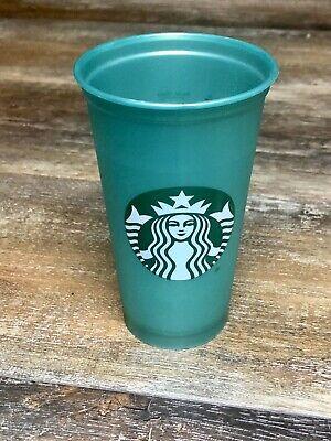 Green Starbucks Reusable Plastic Hot To Go Coffee Cups No Lid 16oz Euc