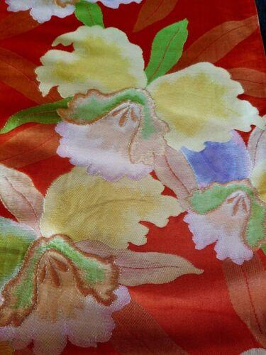 "Vintage woven silk fukuro obi Japan Hawaiian fabric 160""x12"" orchids"