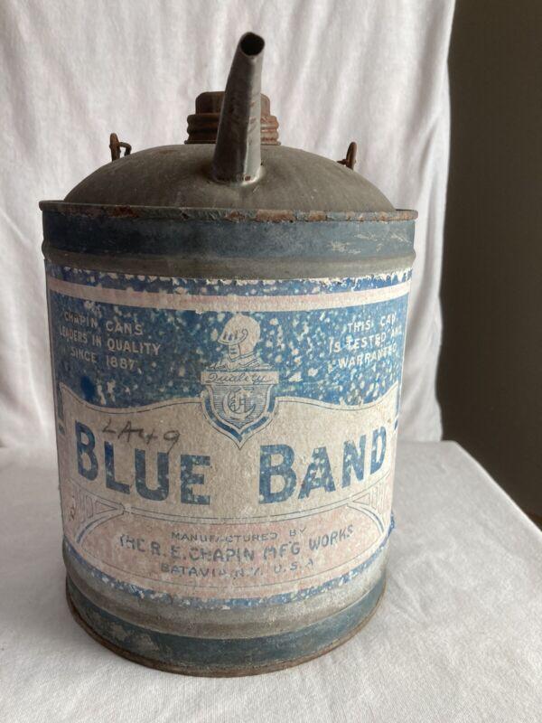 Rare Antique R E Chapin Mfg Works Batavia New York Kerosene Can Blue Band