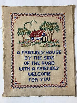 Vintage Antique Cross Stitch A Friendly House.. Complete 1920-40 Lovely Deco
