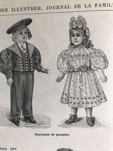 MODE ILLUSTREE SEWING PATTERN Nov 17,1895 DOLL COSTUME , VELVET DRESS