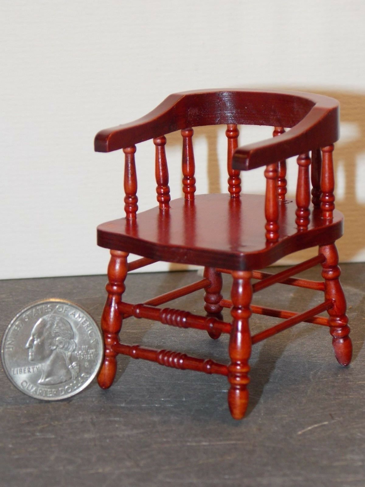 dollhouse miniature wood furniture T3281 1//12 scale mahogany finish Side Chair