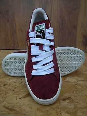 Puma Suede Mens Burgundy White Leather Lace Up Low Top Trainers UK 7 EU 40.5