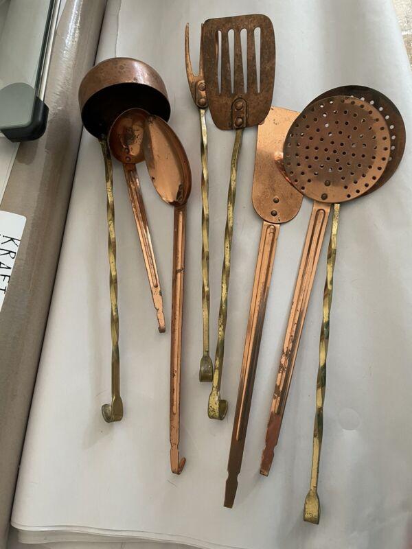 VINTAGE Copper, copper/Brass 8 Piece Hanging Kitchen Utensils Tool Set