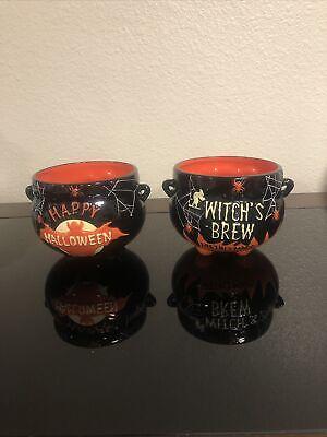 Gibson Halloween Witch Cauldron Candy Bowl Black/Orange Decor NEW